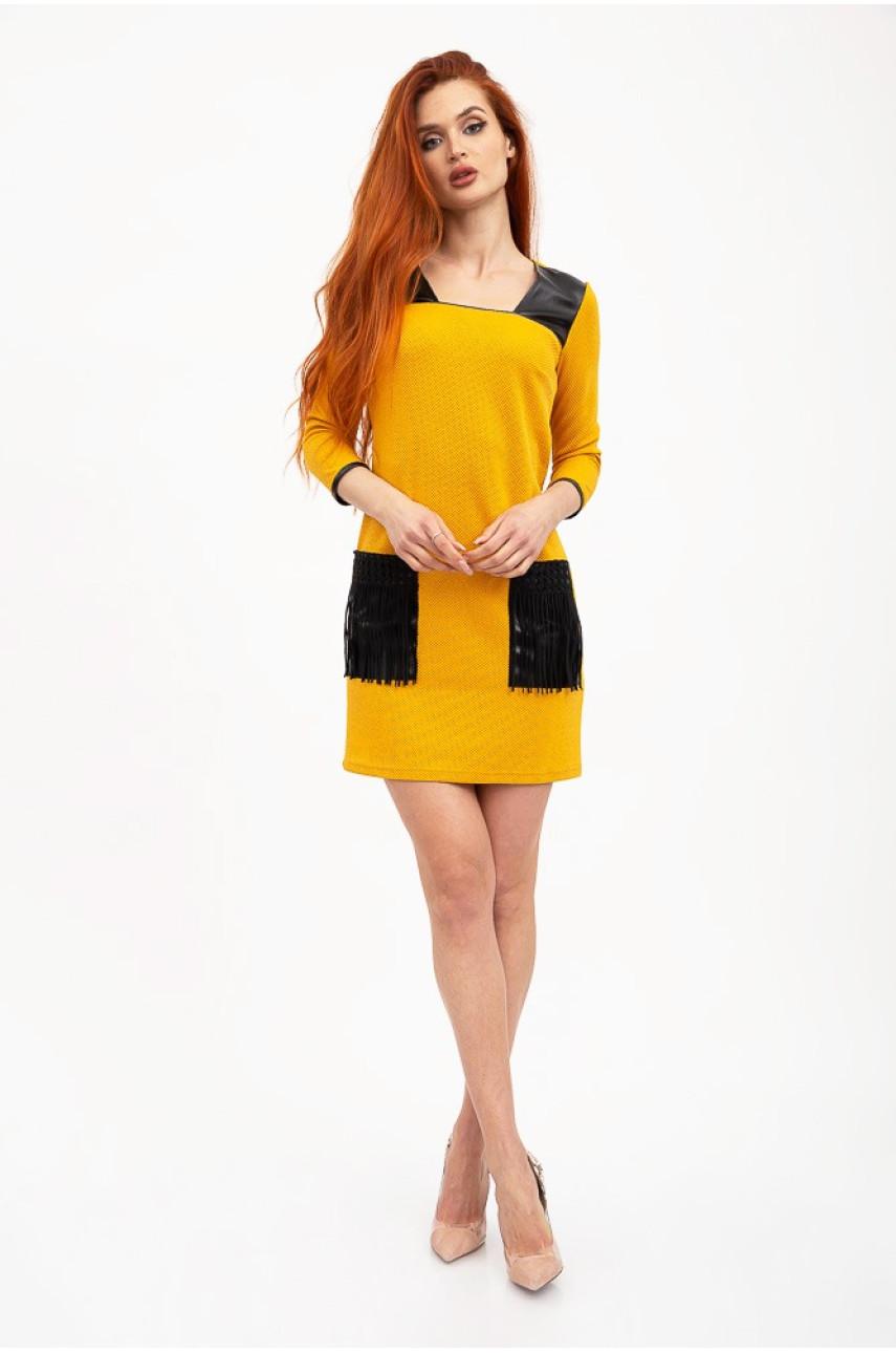 Женское платье с карманами янтарный