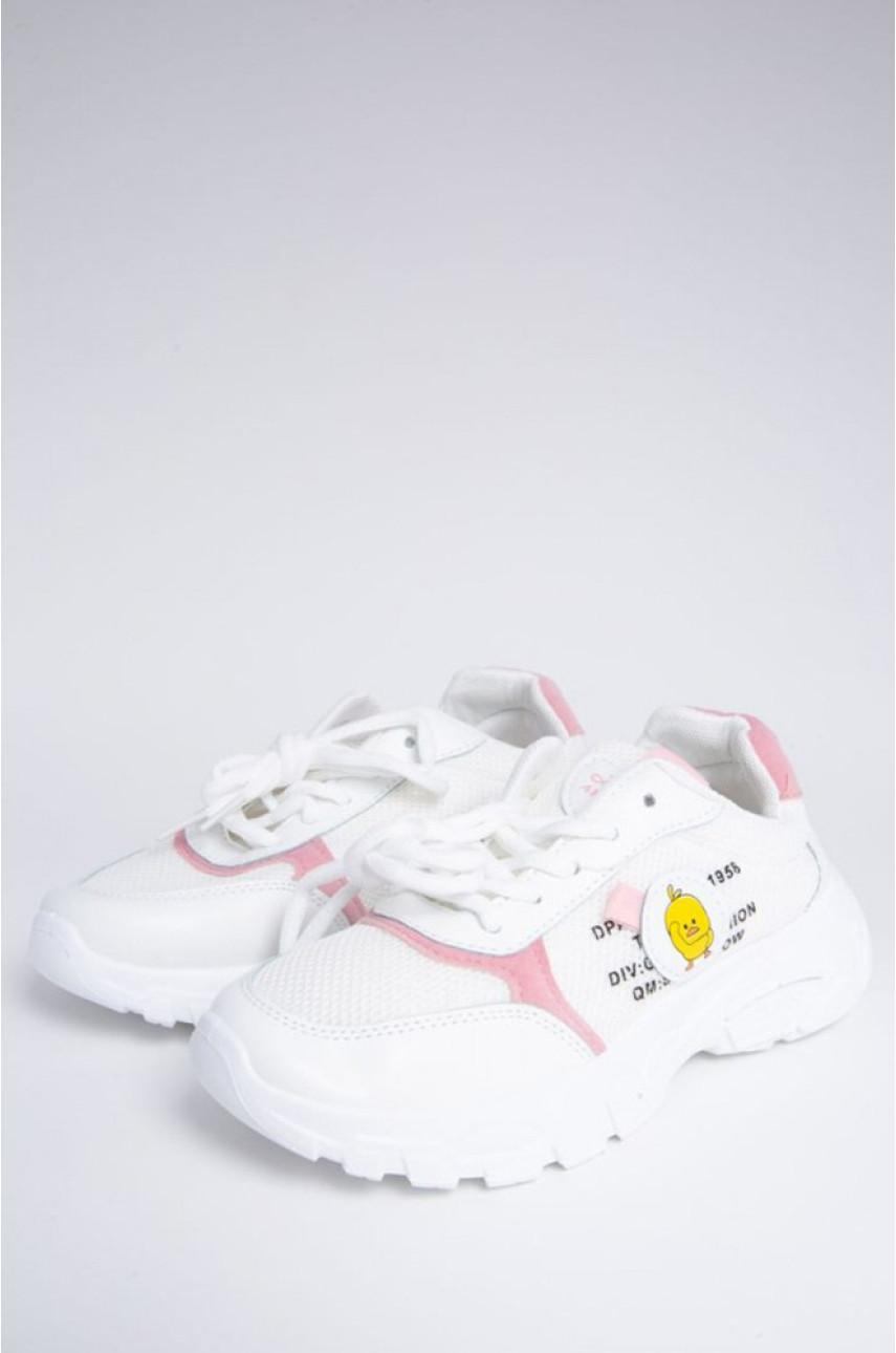 Кроссовки женские белые с розовым 771