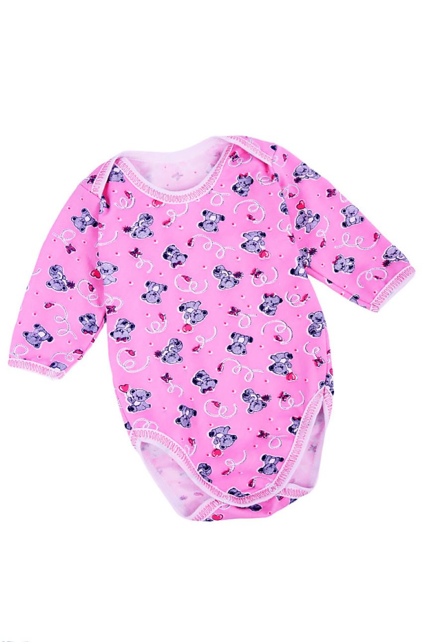 Бодик детский длинный рукав розовый 037