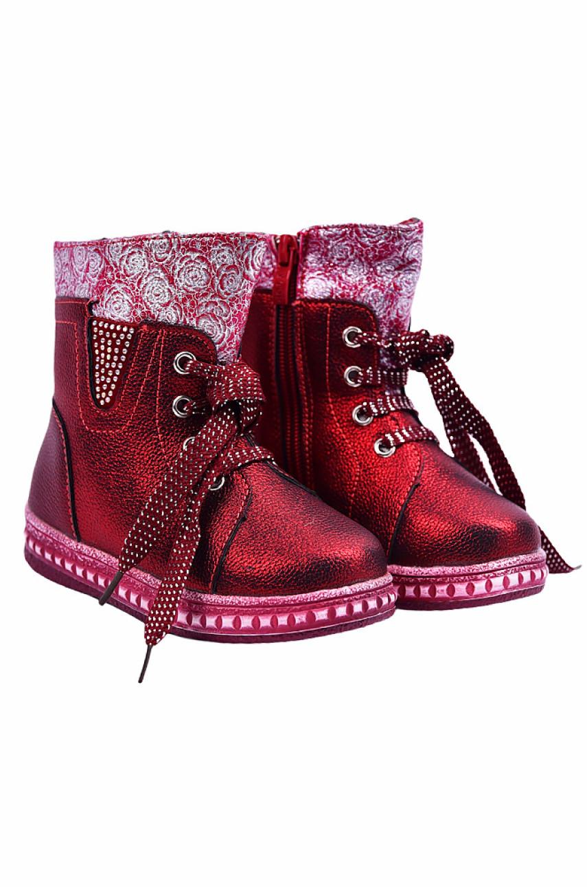 Ботинки детские девочка на меху бордовые 18552-1