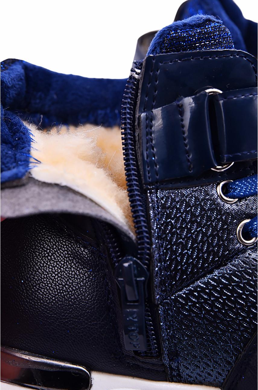 Ботинки детские девочка на меху темно-синие 18536-1