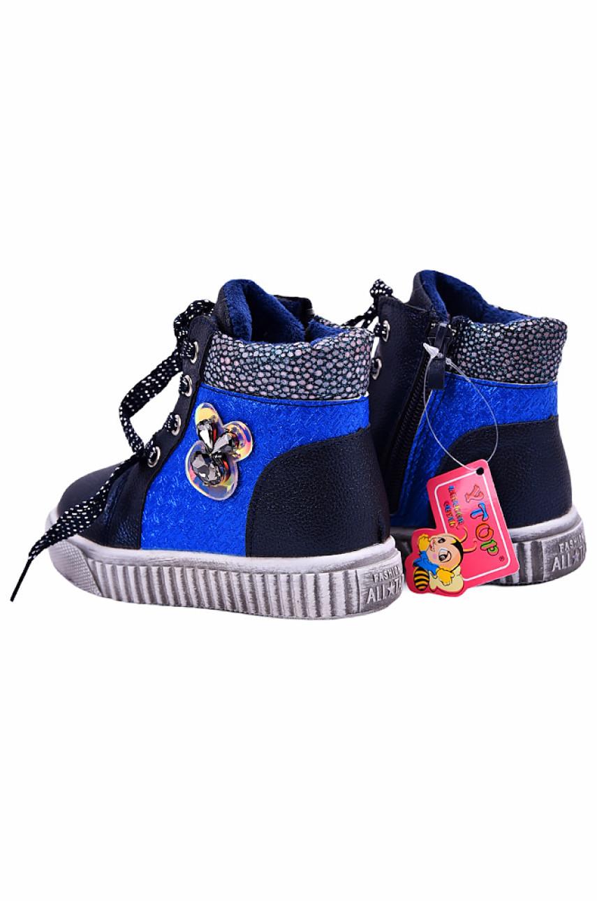Ботинки детские девочка на меху синие 18534-2