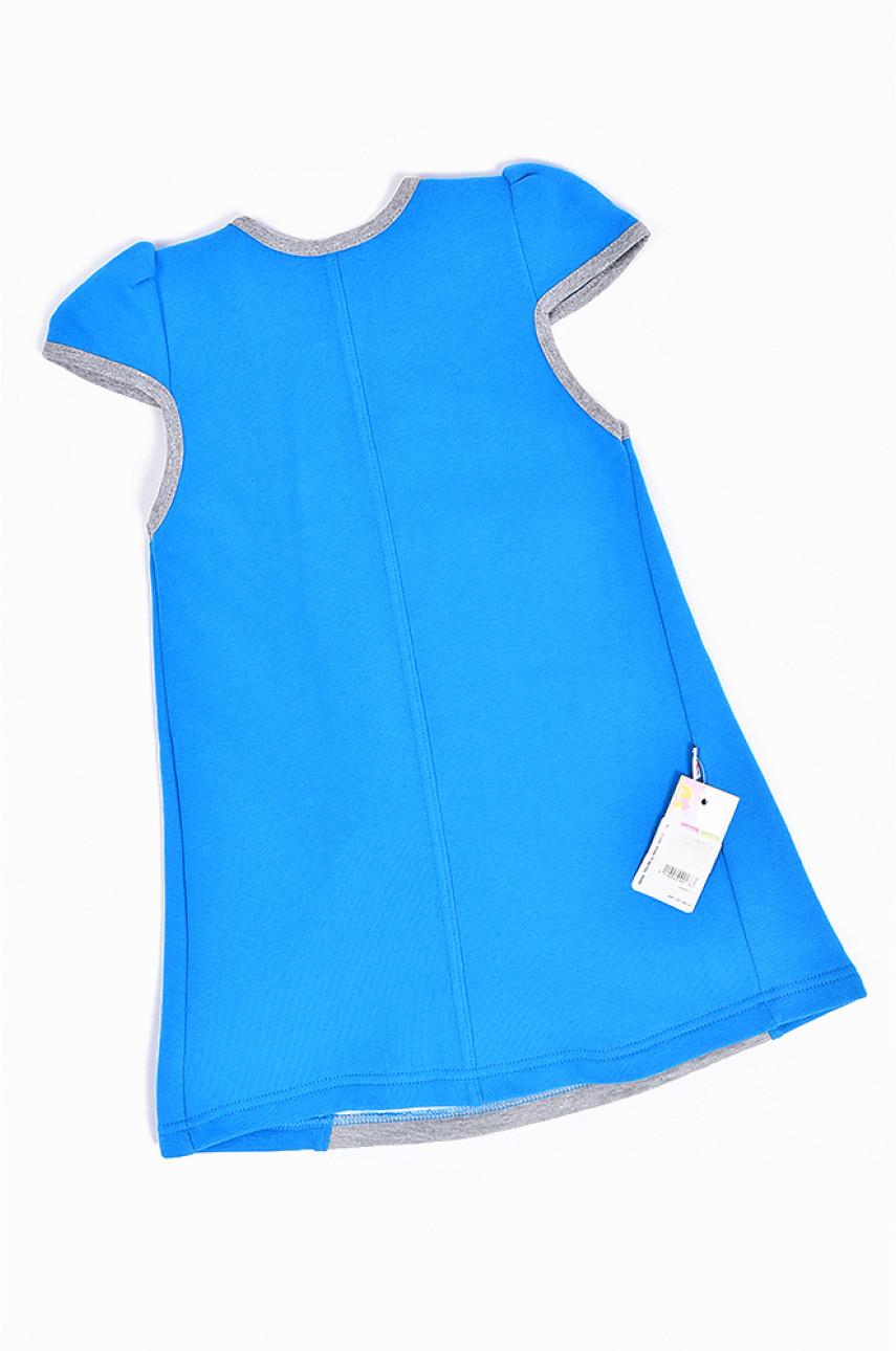 Сарафан на флисе детский девочка голубой с серым 1493