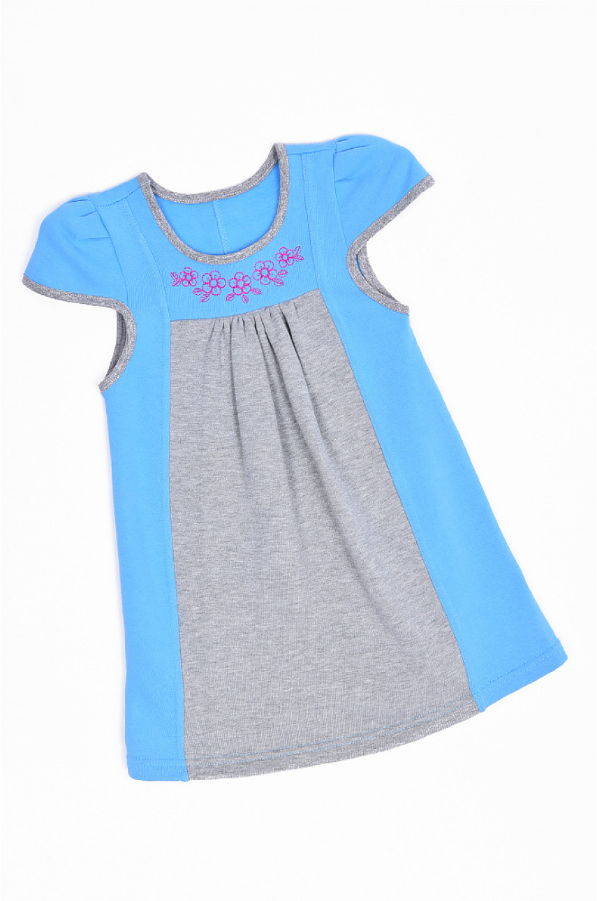 Сарафан на флисе детский девочка светло-голубой с серым 1493-1