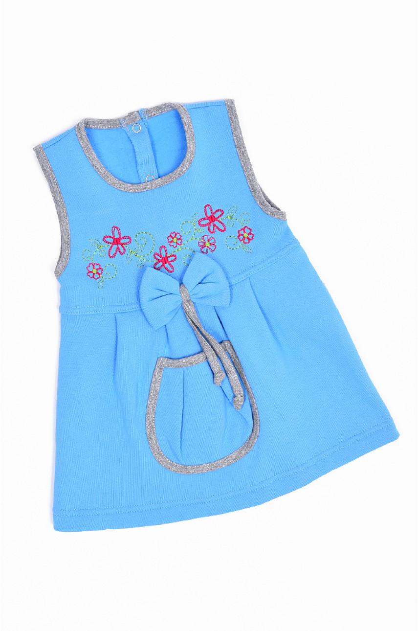 Сарафан на флисе детский девочка голубой 1491-1