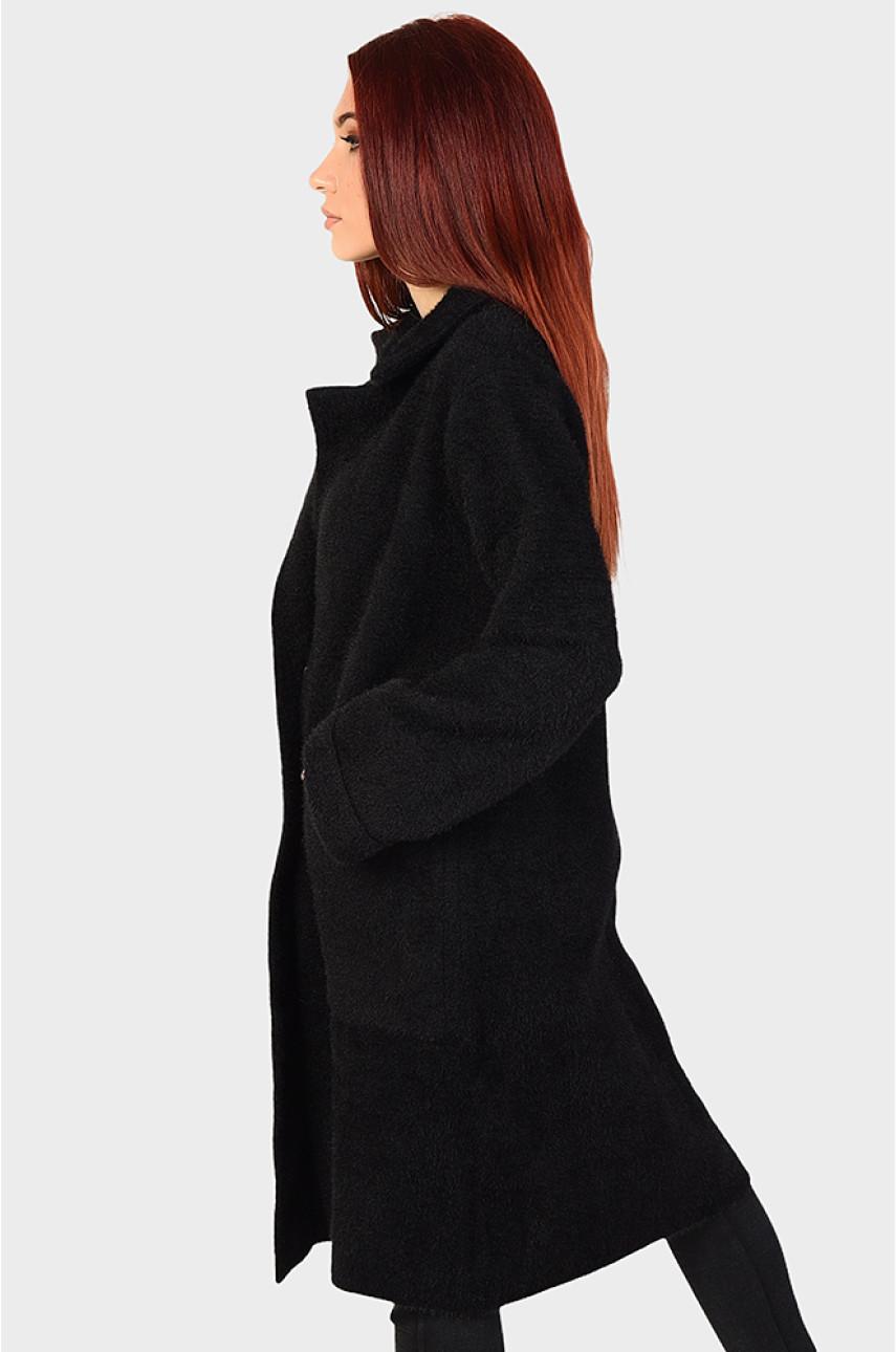 Пальто женское под альпаку черное 46-48 81227