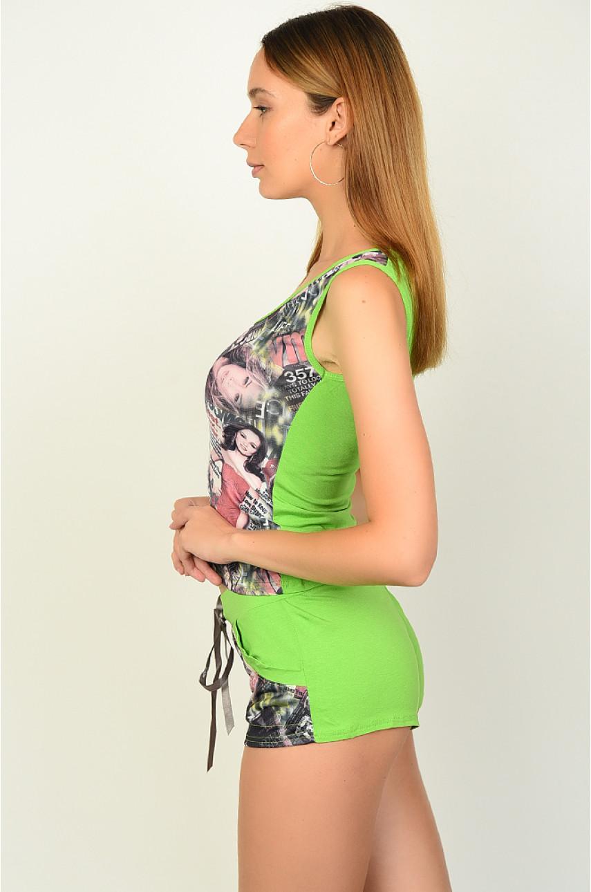 Костюм женский шорты+майка зеленый размер 42 2008