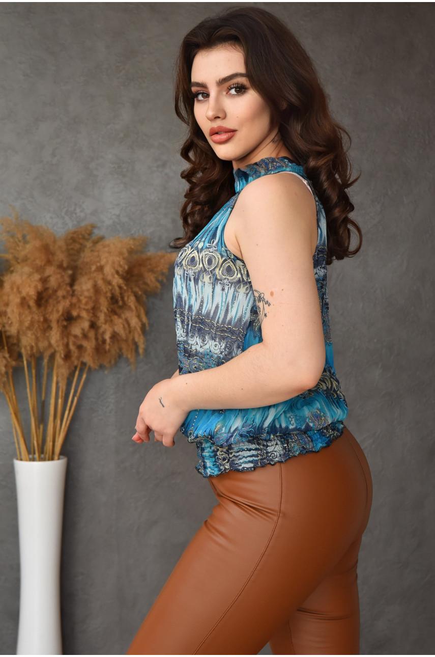 Блуза женская голубая 8599