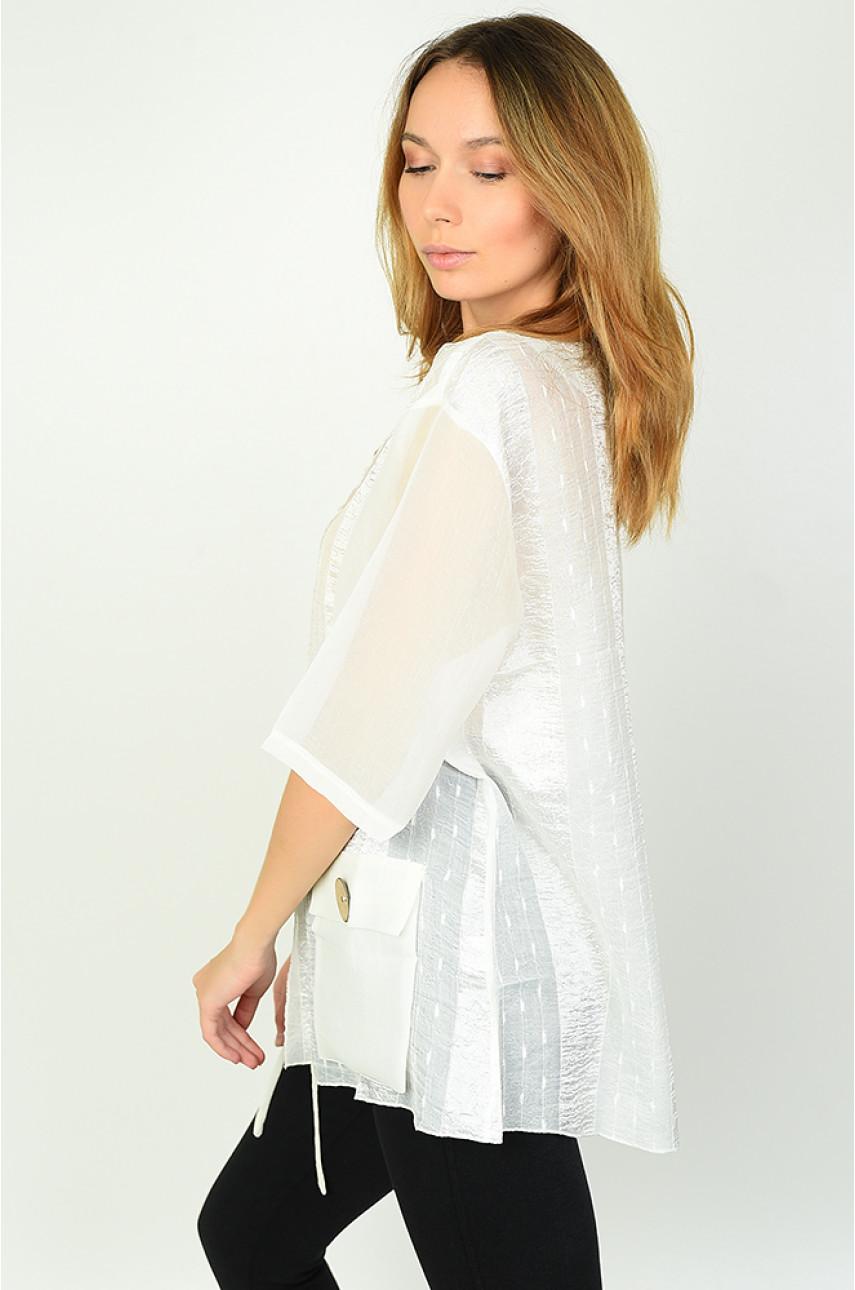 Блуза женская батальная молочная Уценка 0891-2