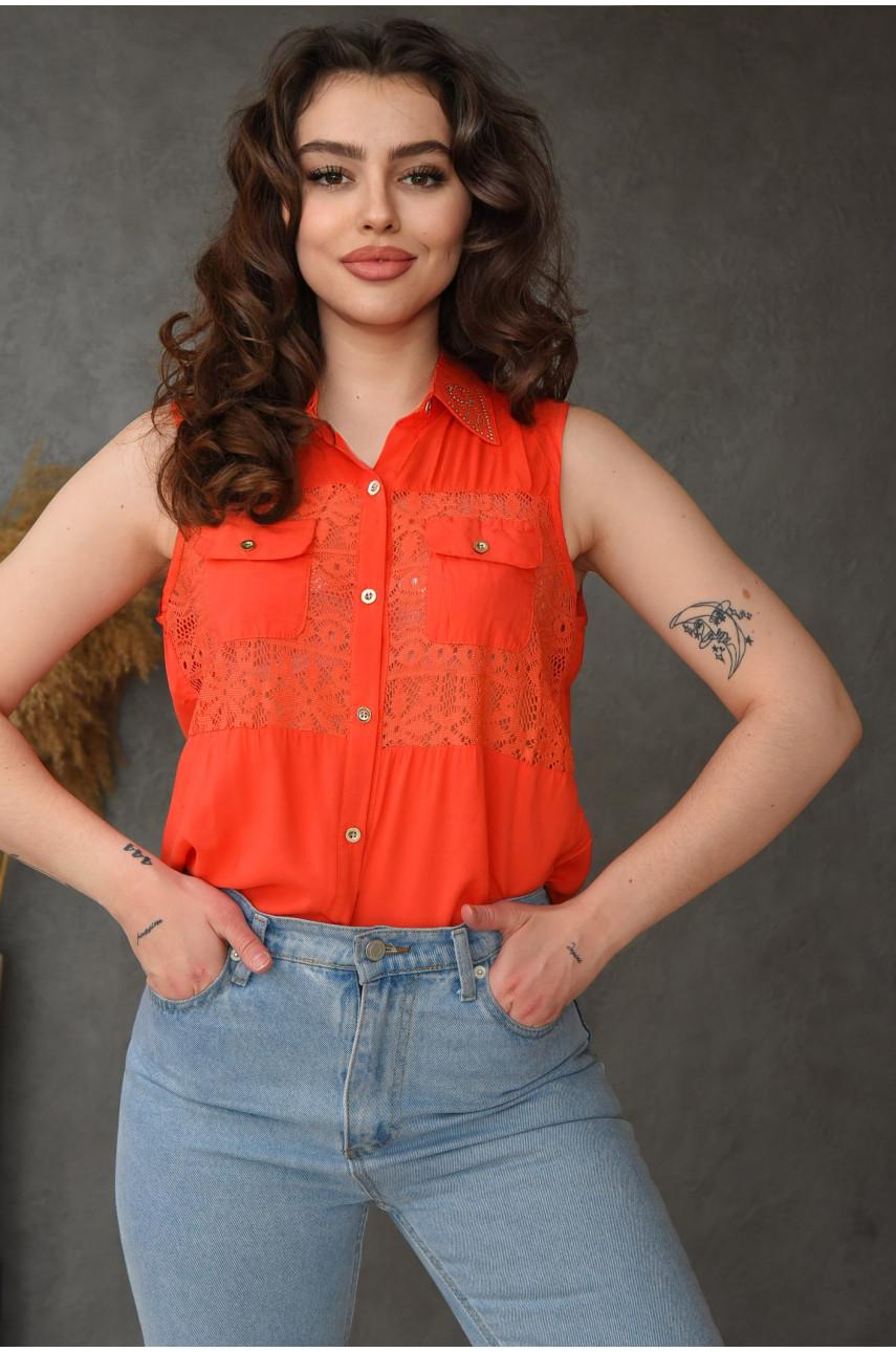 Блуза женская коралловая 036