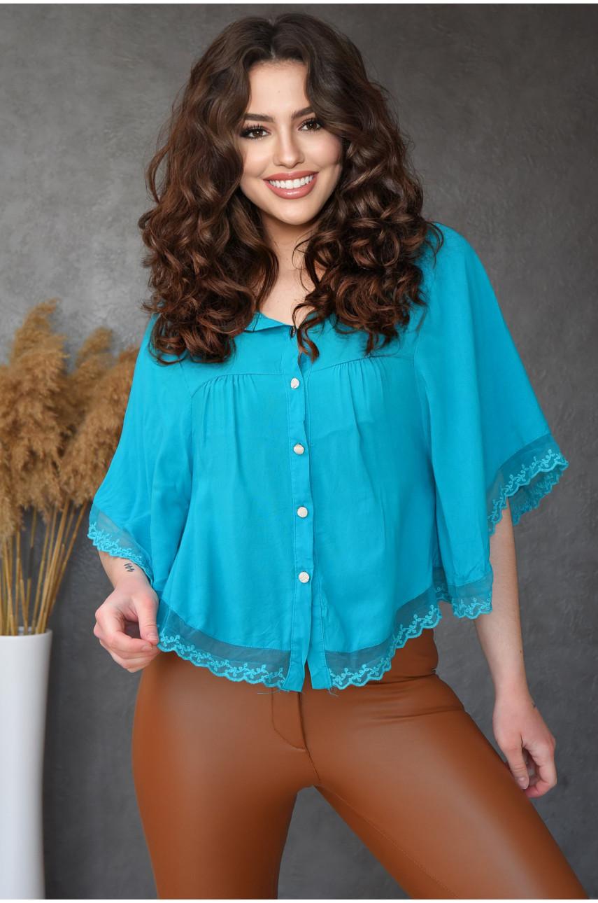 Блуза женская бирюзовая 8008-1