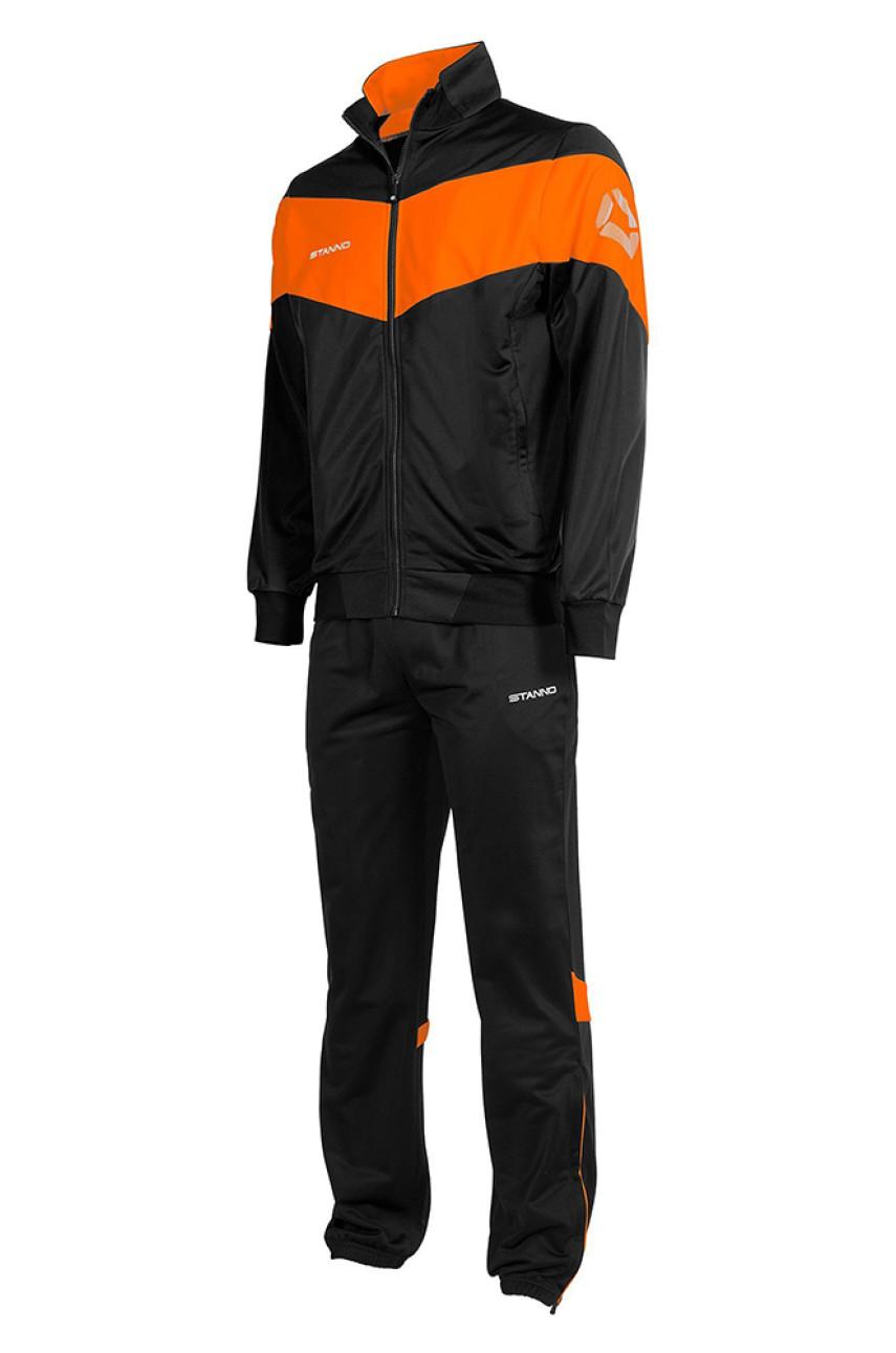 Спортивный костюм мужской черный с оранжевыми вставками 001