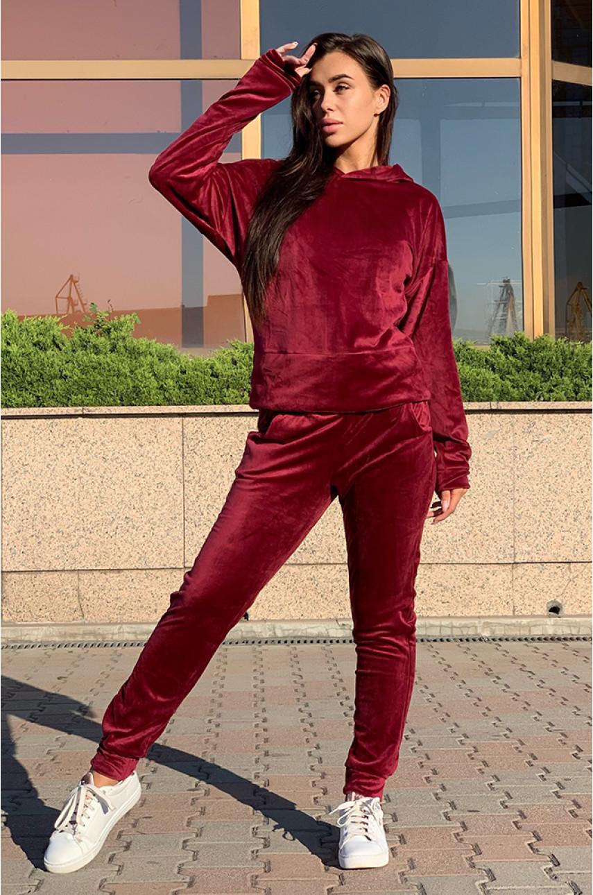 Костюм женский велюр на флисе бордовый 001