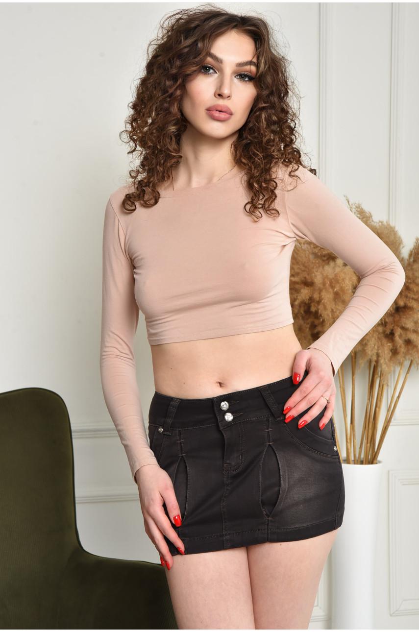 Юбка женская джинсовая темно-серая 7844