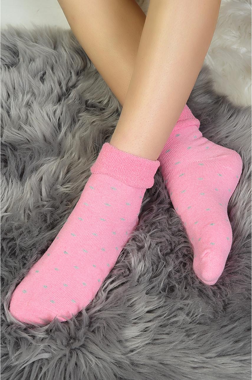 Носки женские розовые в серый горошек размер 36-39